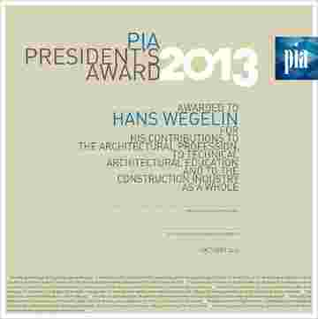 Hans Wegelin receives PIA Presidents Award